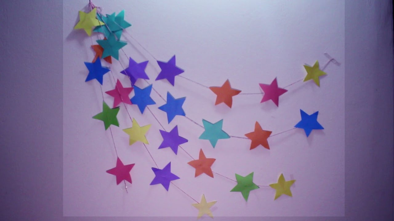 Diy wall hanging craft ideas using colourful paper for Art and craft for school decoration