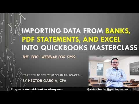 Webinar Preview: Importing Bank, PDF Statement, Excel, and CSV Data into QuickBooks Masterclass