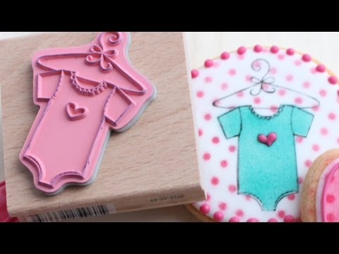 Stamping on cookies - How to stamp on decorated sugar cookies