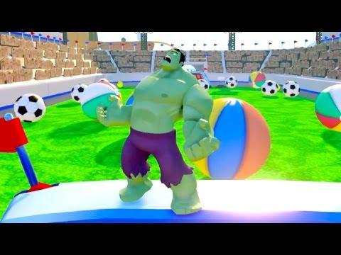 HULK SMASH Giant Balls Colors Monster Trucks Destroy Cars Nursery Rhymes Songs For Kids
