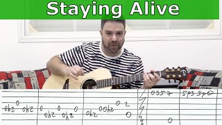 Fingerstyle Tutorial: Stayin' Alive (FULL Instrumental) -- Guitar Lesson w/ TAB  |  LickNRiff