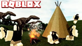 ROBLOX LOST WORLD - (DINOSAURS, TRIBAL HUMANS ET CRAFTING)