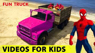 Fun DUMP TRUCKS Cars in Spiderman Cartoon for Kids and Nursery Rhymes Songs for Children