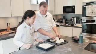 MAELLE AND RICHARD  MAKE  FOCACCIA AND MINI BREAD BOWLS FOR INDIVIDUAL SALADS