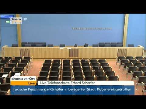 Feueralarm in der Bundespressekonferenz mit Ursula von der Leyen am 29.10.2014