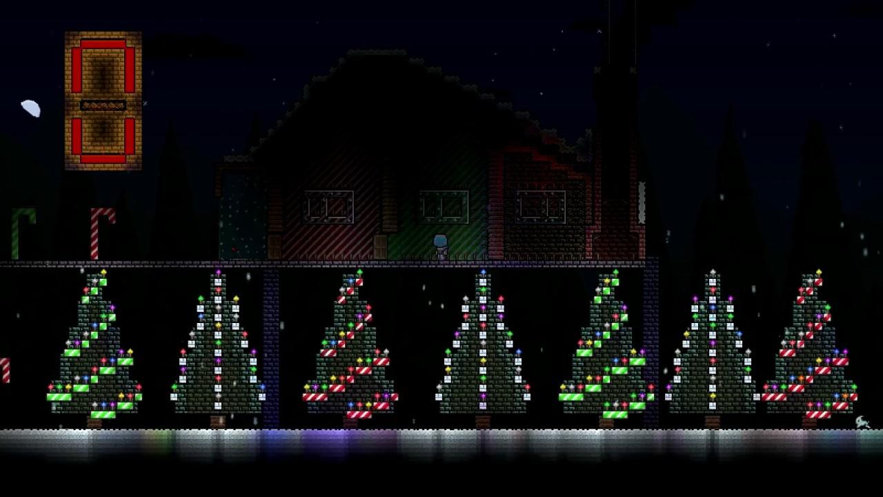 Terraria Christmas House.Terraria My Christmas Lights House
