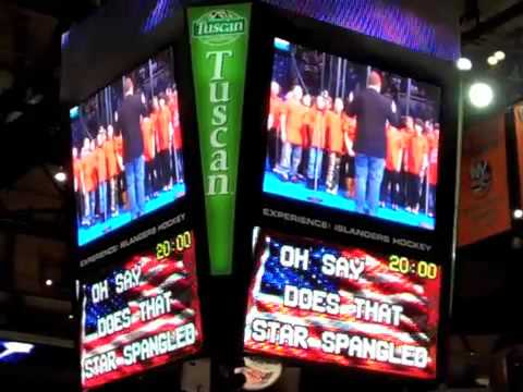 A.P. Willits Elementary School sing National Anthem at Islanders Game