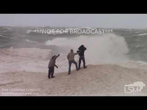 2-24-19 Grand Haven, MI Huge Waves - High Winds