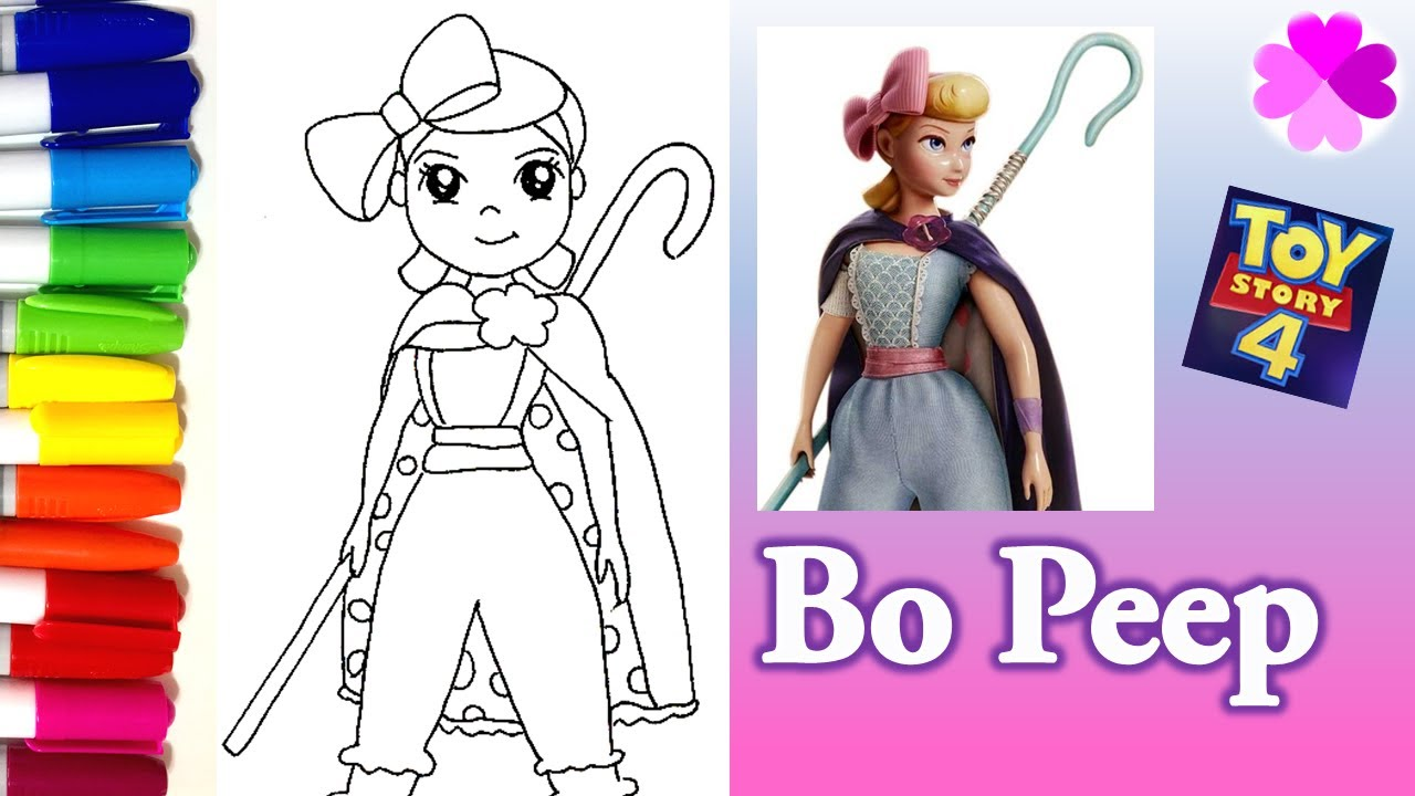 How To Draw Bo Peep Toy Story 4 Cute And Easy Glitter Coloring Pages Youtube