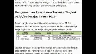 Lowongan Kerja Rekrutmen Terbuka Tingkat SLTA/Sederajat Tahun 2016