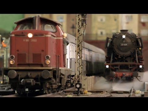 Steam locomotives on an amazing model railroad Layout in 1/32 Scale
