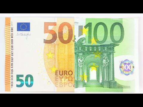 100 Euro Note vs new 50 € Bill comparison