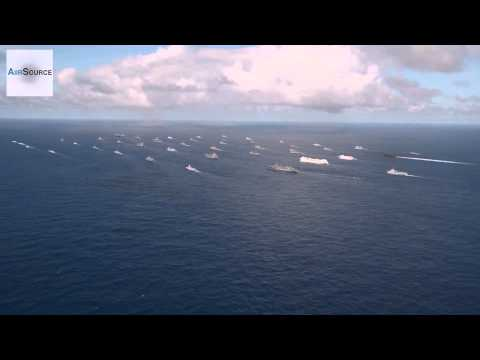 MASSIVE 42 Ships  Submarines Close Formation   Rim of the Pacific Exercise 2014