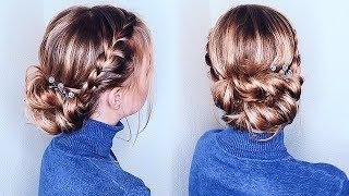 Обучение прическам.Прическа САМОЙ СЕБЕ ПОШАГОВО на Выпускной/Новый год. Updo for Medium Hair