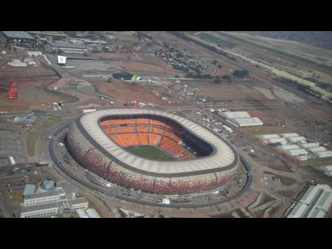 Aerial of Soccer City  in Johannesburg first match of the World Cup
