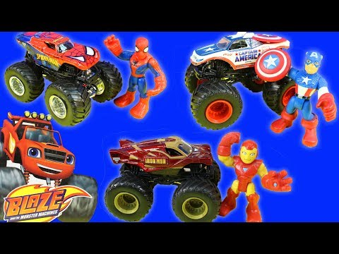 Blaze Gets Kidnapped By Shark Monster Truck Spider-man Iron Man Captain America Save The Day
