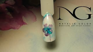 Нежный весенний маникюр: акварельный цветок/spring design flower