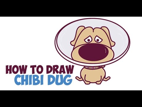 how to draw dug from up cute with cone on head step by step drawing tutorial for kids