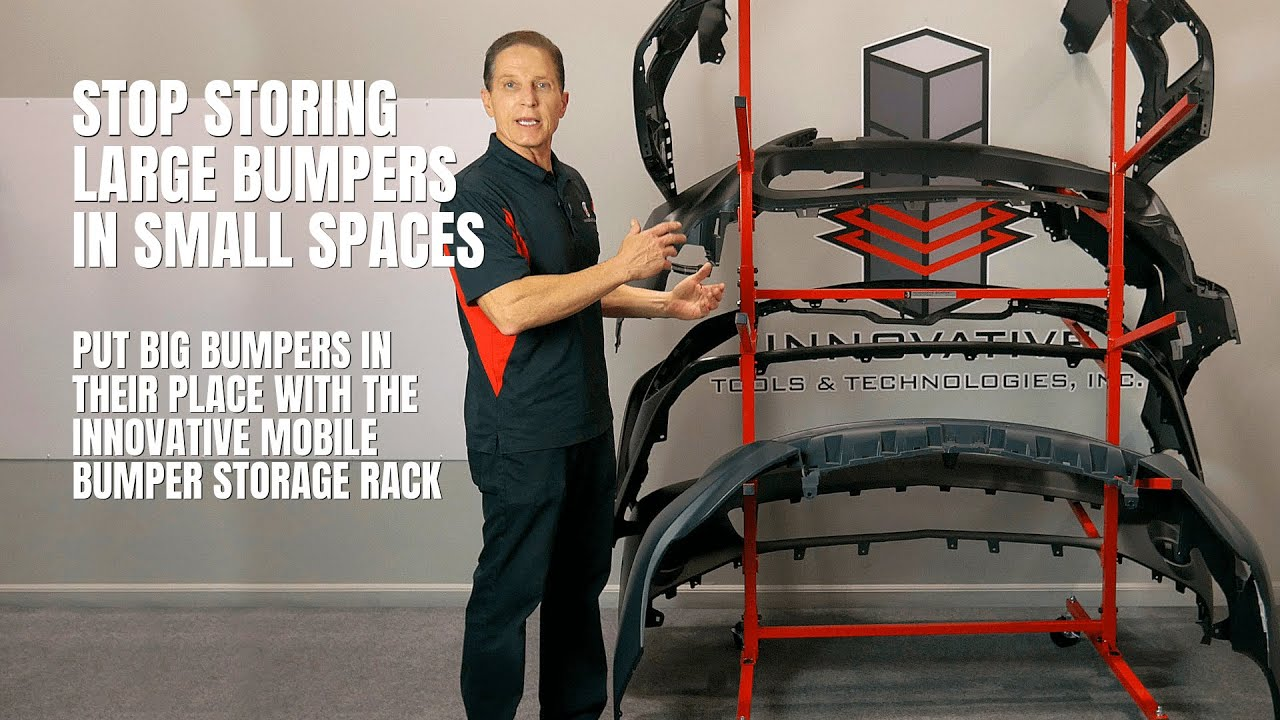 stop storing large bumpers in small spaces the innovative mobile bumper storage rack