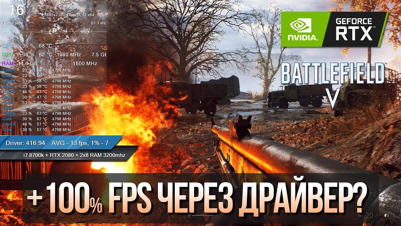 Nvidia подняла фреймрейт в два раза? Тест BF5 после исправления драйверов!