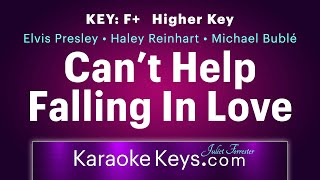 Can't Help Falling In Love With You • F+ • Higher Key • Karaoke Piano • WITH LYRICS