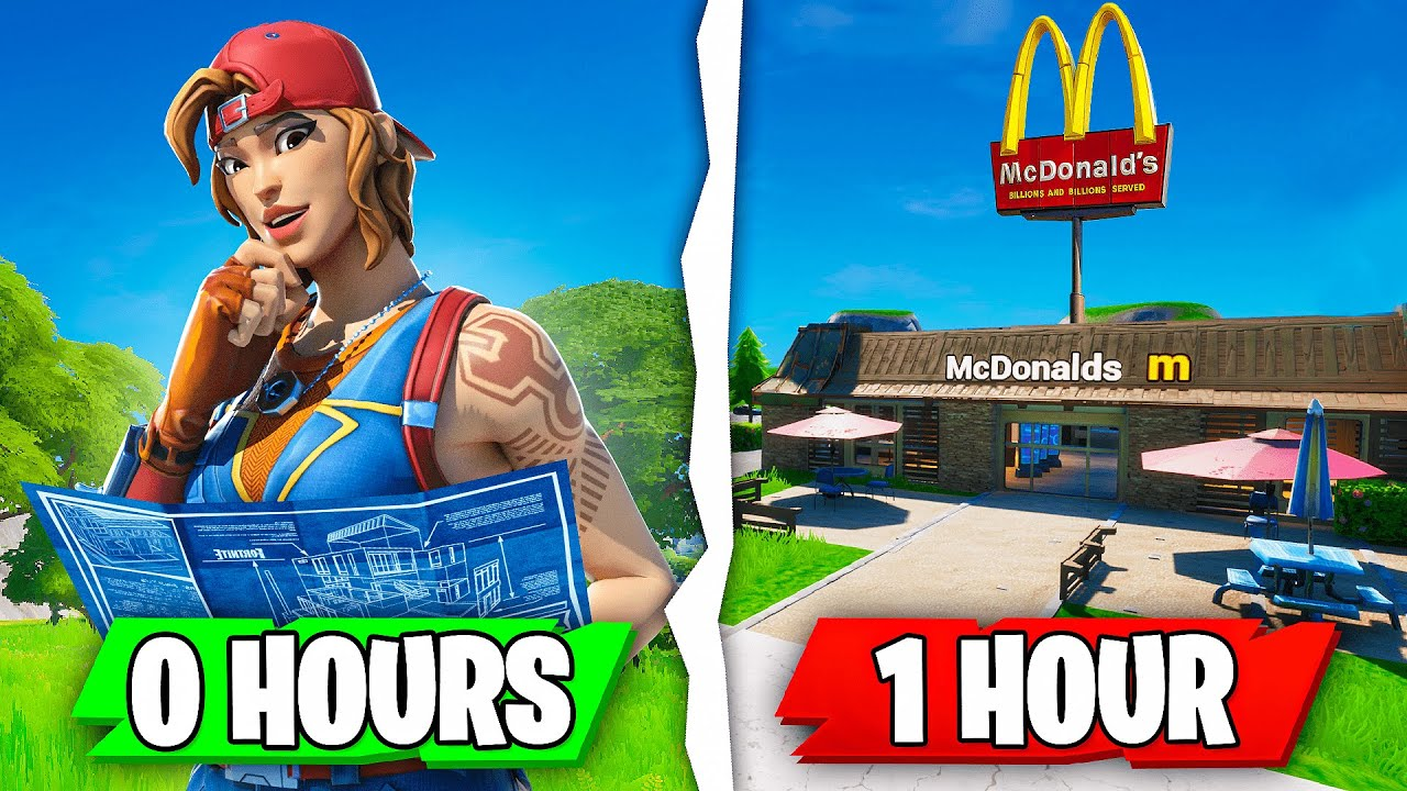 I gave 10 Fortnite players ONE HOUR to build me a RESTAURANT...