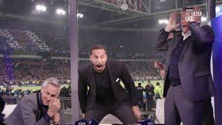 Ferdinand, Hoddle, and Lineker celebrate Spurs' winner!