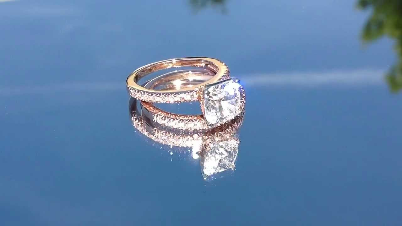 Cushion Cut And Rose Gold Engagement Ring By Miadonna