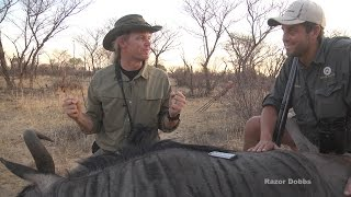 10mm auto pistol 100 yard heart shot on wildebeest by Razor Dobbs. Hunting