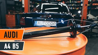 How to change a rear shock strut on AUDI A4 B5 Saloon [TUTORIAL AUTODOC]