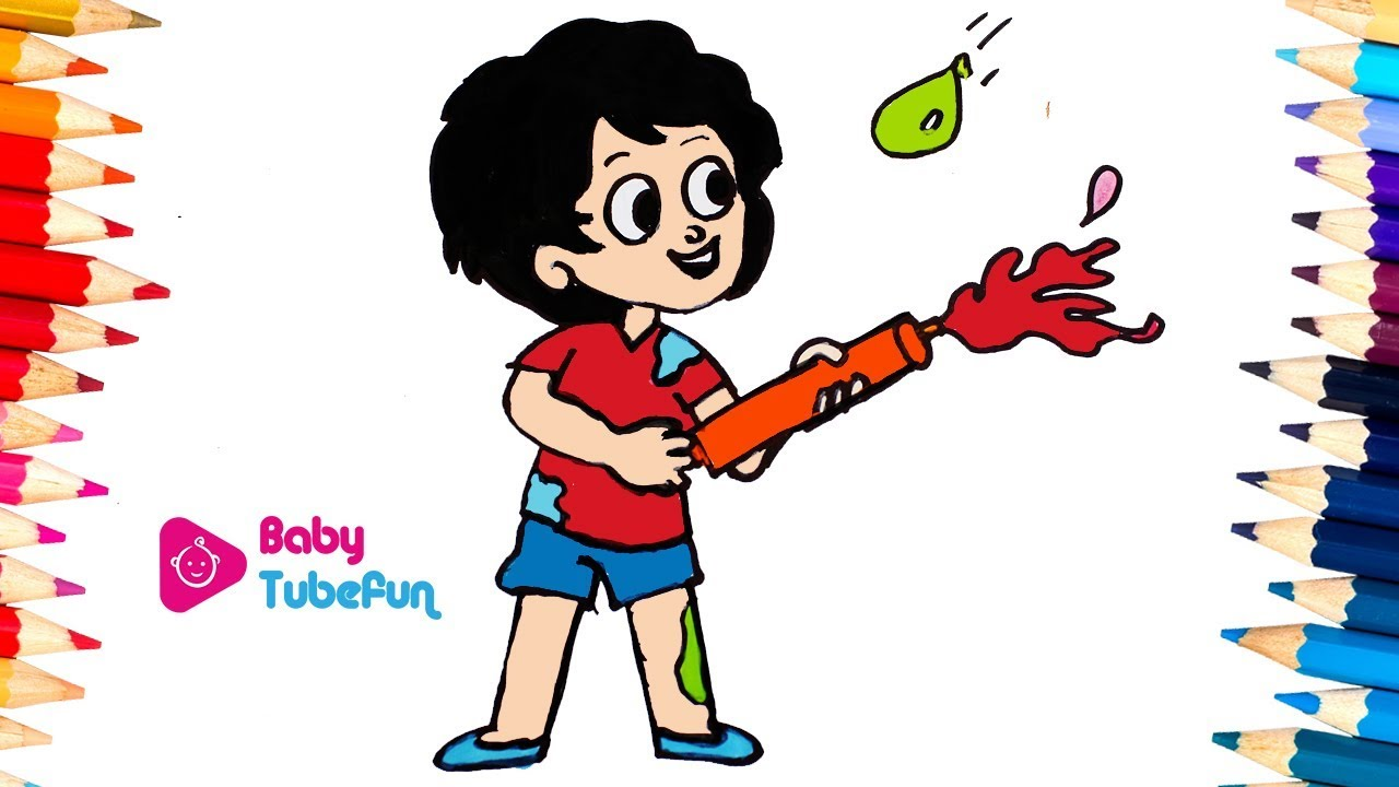 colouring children playing holi | Happy Holi Kids ...