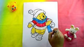 Винни‑Пух раскраска акварелью Winnie the Pooh coloring with watercolors