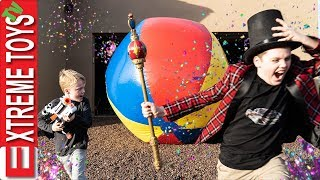 Ethan's Funhouse! Sneak Confetti Cannons and Crazy Nerf Robots!