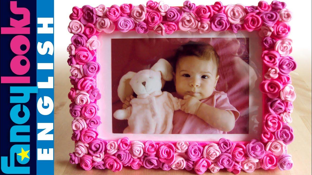 Pink roses frame diy youtube - Marcos de fotos grandes ...