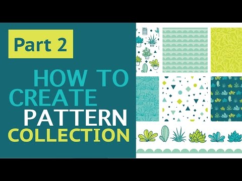Part 2: How To Create Vector Repeat Pattern Collection With Succulents in Adobe Illustrator.