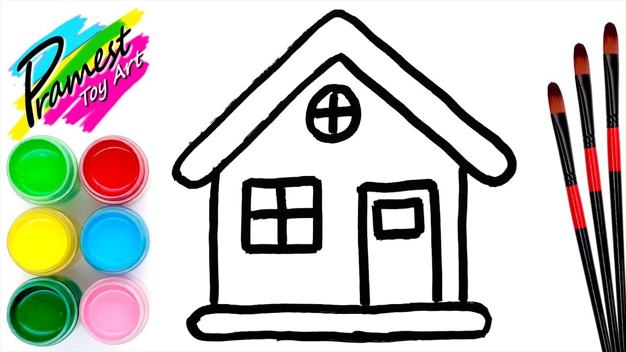 Belajar menggambar dan mewarnai Rumah #3 untuk anak - YouTube