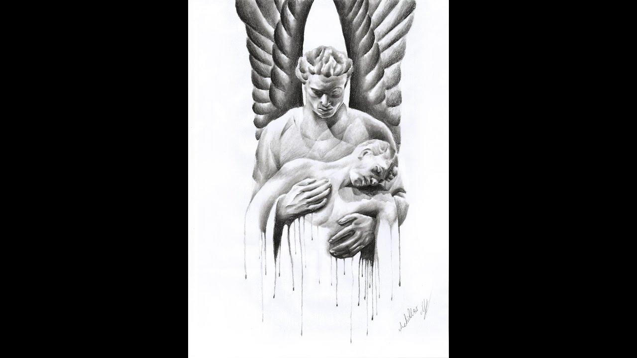 dark angel pencil art speed drawing achilles mant youtube