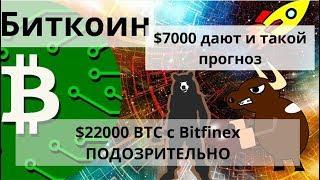 Биткоин. $7000 дают и такой прогноз. 22000 BTC с Bitfinex ПОДОЗРИТЕЛЬНО. Курс биткоина