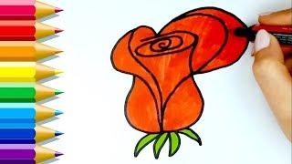 How to Draw Rose 🧡 कैसे आकर्षित करने के लिए गुलाब का फूल