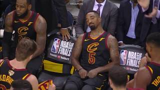 Unseen & Uncut Footage of LeBron & JR Smith after Smith\'s mistake in GM1