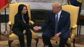 Trump meets with freed aid worker