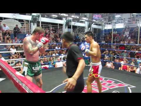 Jon (Sinbi Muay Thai- Red Corner) fights at Bangla Boxing Stadium- 24.02.2017.