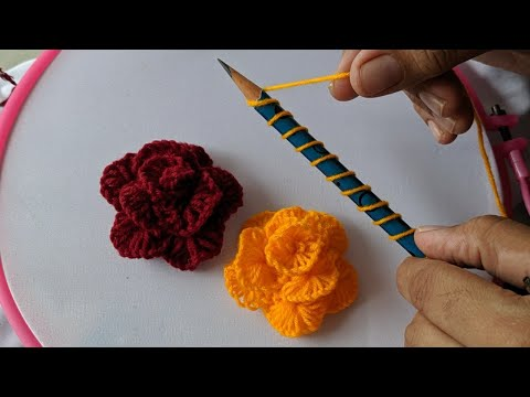 Amazing Hand Embroidery Rose flower design trick with pencil | 3d Easy Woolen Flower Ideas