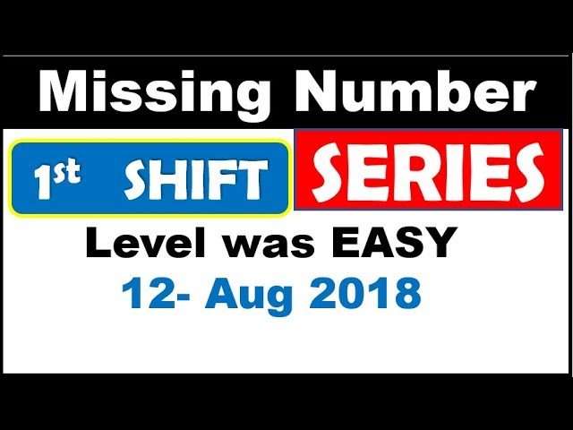 Missing Number asked in 12 AUG RRB PO PRE | EASY PROBLEM  ( Scoring NATURE )