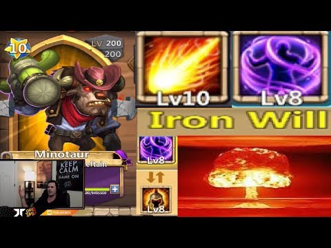 Minotaur Iron Will NEW TALENT Game Play OVER POWERED Castle Clash