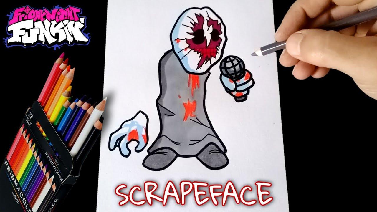 COMO DIBUJAR A SCRAPEFACE DE MADNESS COMBAT VS FRIDAY NIGHT FUNKIN   how to draw scrapeface from fnf