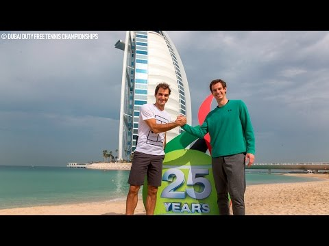 Federer And Murray Play Beach Tennis At Dubai 2017