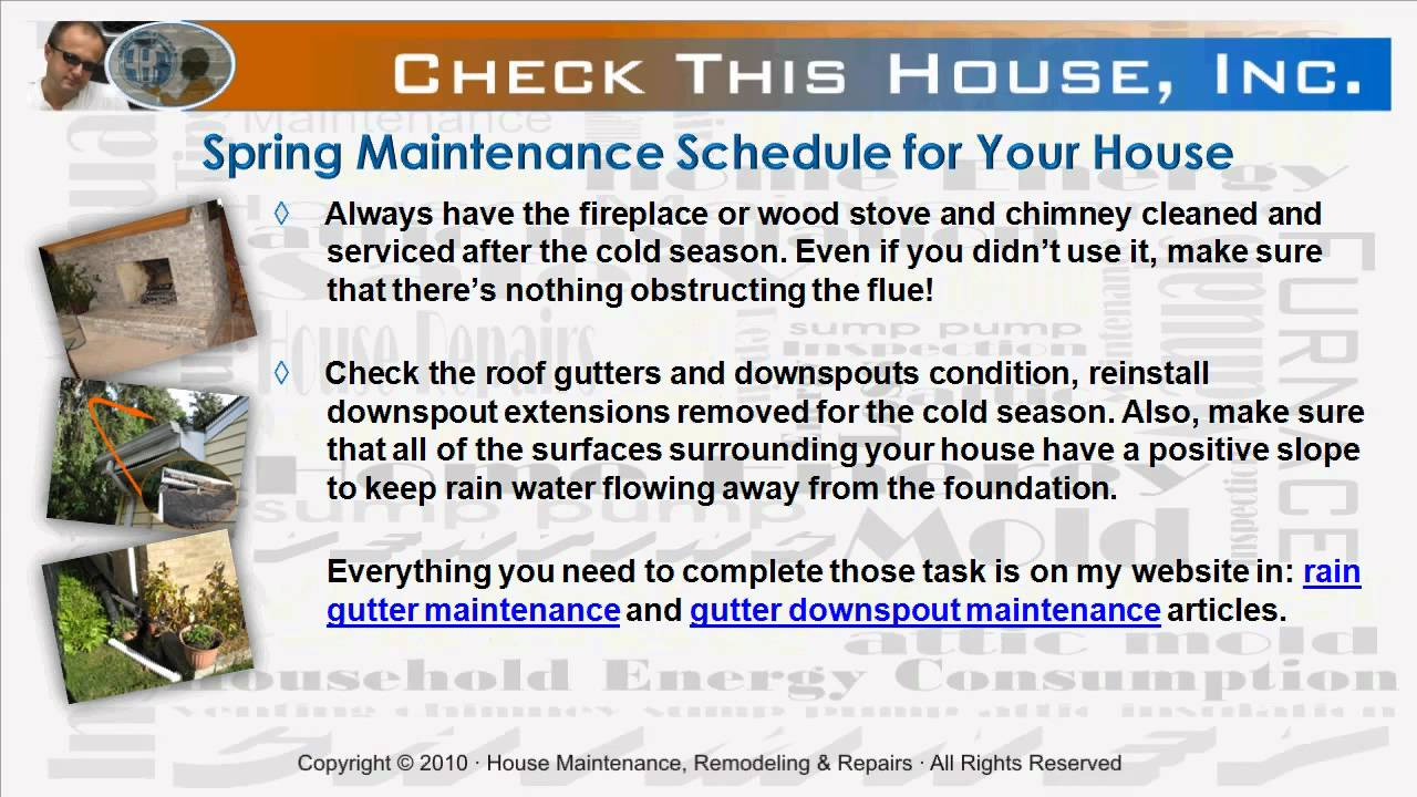 Spring Home Maintenance Schedule, Preventive Maintenance Checklist on home repair help, home recycling tips, photography tips, home remodeling tips, home inspection tips, home cleaning tips, home buying tips, home insurance tips, home protection tips, home heating tips, home fix-it tips, home repair tips, home energy tips, home care tips, home safety tips, real estate tips, tips for selling your home, home security tips, home management tips, home decor tips, home design tips, home storage tips, home improvement, home selling tips, home marketing tips,