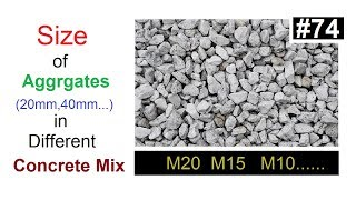 Size of Aggregates in different concrete mix in Urdu/Hindi