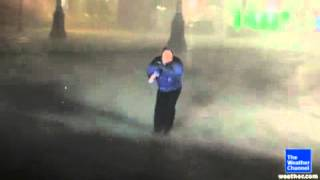 Jim cantore takes a beating from hurricane Isaac